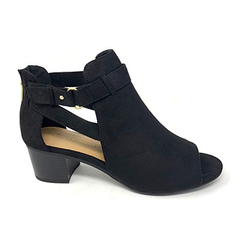City Classified Invest Women's Cutout Side Strap Mid Block Chunky Heel Fashion Ankle Bootie Boots (11 M US, Black - Black New Boots Womens