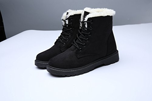 Baymate Mujer Botas Falso Fur Calentar Botines Planos Chic Gamuza Sintética Cordón-Arriba Botas de Nieve Negro