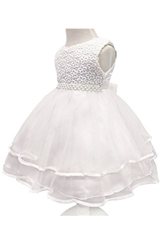 H.X Infant and Toddler Princess Pearl Tutu Special Occasion Dresses for Baby Girl's Wedding Party (3M/Fit 0-5 months, Ivory)
