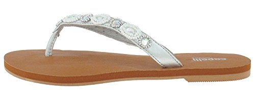 Capelli New York Matte Metallic Thong With Gem And Bead Trim Ladies Flip Flop Silver Combo 9