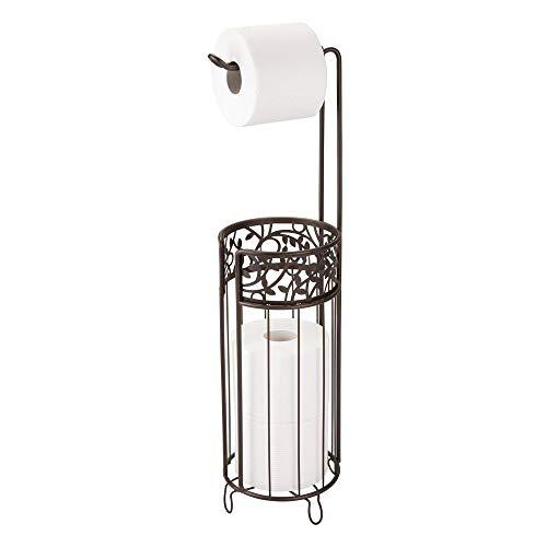 iDesign Vine Metal Free Standing Toilet Paper Tissue Holder, Cannister for Kids', Guest, Master, Office Bathroom, 6.25