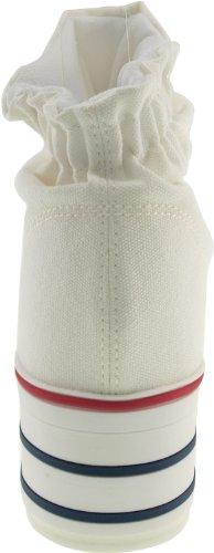 Ankle Platform OpenToe Maxstar Canvas White Wrinkled Sandals 7wI7qxtP