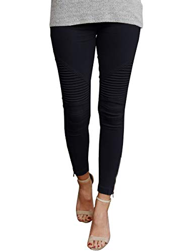chimikeey Womens Moto Jeggings Ankle Zipper Skinny Pleated Stretch Mid Rise Pencil Pants with Pockets Black Chic Cotton Moto Jacket