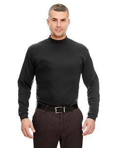 UltraClub Adult Egyptian Interlock Long-Sleeve Mock Turtleneck L Black