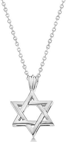Colgante estrellado judío clásico de David, sólido, oro blanco de 14 k, colgante estrella dorada
