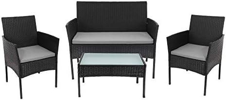 Beneffito Tulum - Conjunto Muebles de jardín en Resina Trenzada Negro - 4 plazas, 2 sillones, 1 Mesa Baja, 1 Banco - con Cojines de Asiento Gris con Cremallera: Amazon.es: Jardín