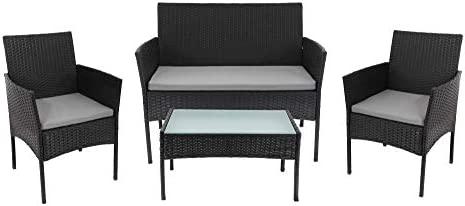 Beneffito Conjunto Muebles de jardín Tulum en Resina Trenzada Negro - 4 plazas, 2 sillones, 1 Mesa Baja, 1 Banco - con Cojines de Asiento Gris con ...