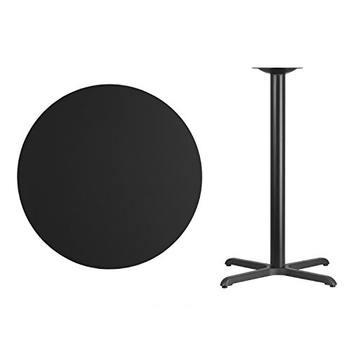 (Flash Furniture 36'' Round Black Laminate Table Top with 30'' x 30'' Bar Height Table Base)