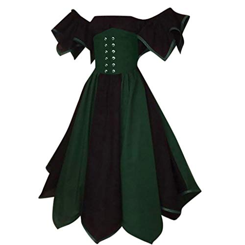 Women's Vintage Off Shoulder Petal Sleeve Colorblock Medieval Renaissance Fancy Dress Cosplay Costumes with Corset (S, Navy) -