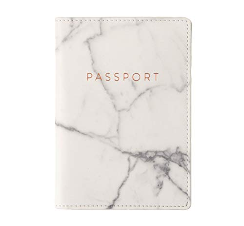 Eccolo World Traveler Travel Passport Cover Case with Storage Pocket, Marble,...