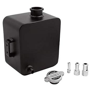 Black Universal 2.5L Aluminum Radiator Coolant Expansion Overflow Tank Bottle