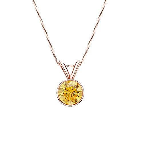 14k Rose Gold Round-cut Yellow Diamond Bezel Solitaire Pendant (1/2 cttw, Yellow, (9k Gold Diamond Pendant)