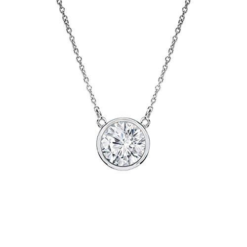 14k White Gold Bezel-set Round Diamond Solitaire Pendant (3/8 cttw, Good, I1-I2)