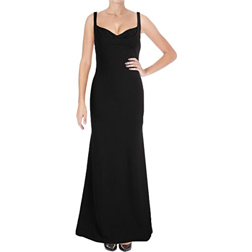 (Vera Wang Women's Sleeveless Gown with Sweetheart Neckline, Black, 4)