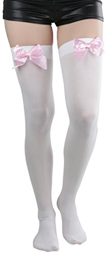 ToBeInStyle Women's Opaque Thigh Hi Stocking With Bow - White With Baby Pink Bow