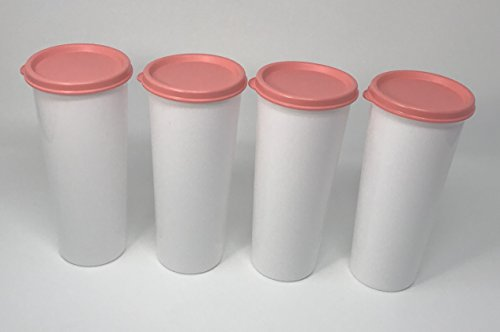 (Tupperware 16 oz Tumbler Set of 4, White With Peach Sill)