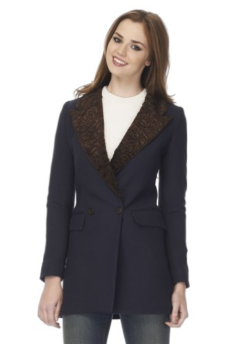 Smythe Wool Coat - Smythe Persian Faux-Fur-Collar Coat 8 Navy