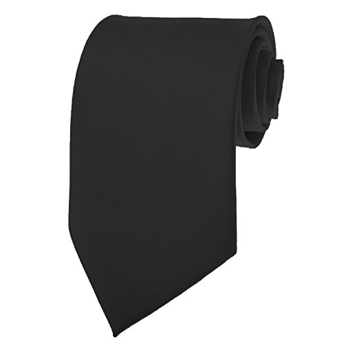 New Mens Solid Color Black Necktie Neck Tie ()