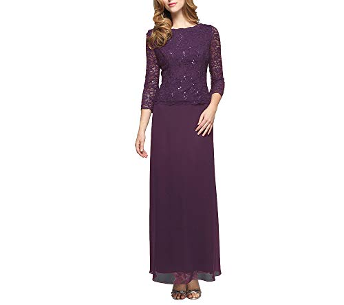 Alex Evenings Women's Long Mock Dress with Sequin Lace Bodice and Illusion 3/4 Sleeves, Deep Plum, 6