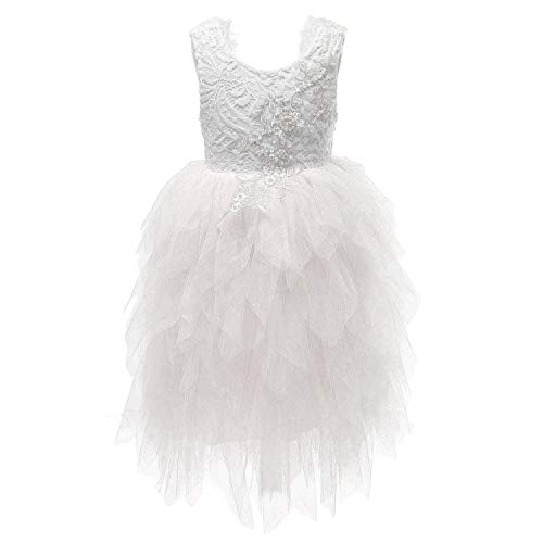 (Flower Girl Beaded Peony Lace Tiered Tutu Tulle Party Dress Girls Maxi Dresses (White, 5-6T))