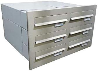 LETTERBOX24.de B-042 - Sistema de buzón de pared (6 compartimentos, acero inoxidable, con placa para nombre, profundidad: 39-62 cm)