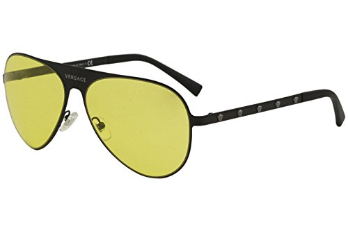 Versace Women's Aviator Sunglasses, Matte Black/Yellow, One ()