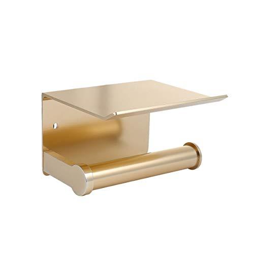Fyore Toilet Paper Holder Storage Metal Heavy Duty Drilling Bathroom Tissue Roll Holder with Phone Storage Shelf(Gold-A)