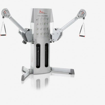 eMotion EXT Dual Cable Crossover Silver Machine with Weight Stacks, Rotating Arms and Swivel Pulleys. ()