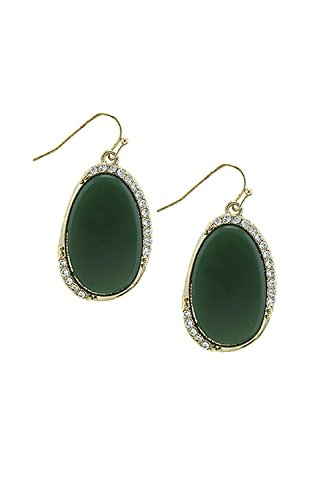 TRENDY FASHION JEWELRY CRYSTAL ACCENT FAUX GEM EARRINGS BY FASHION DESTINATION | (Green) (Green Coin Ring Roberto)