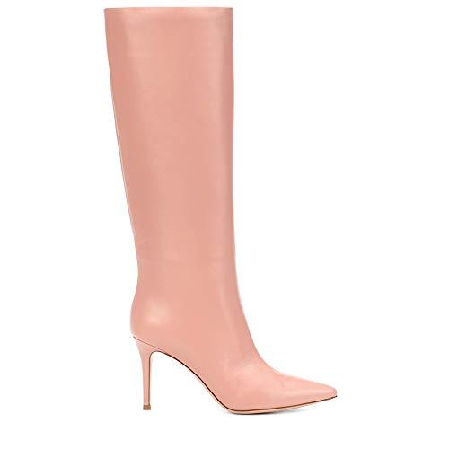 punta rosso artificiale rosa rosa punta a pompon bianco con con donna Stivali colore tonda da wfUq1