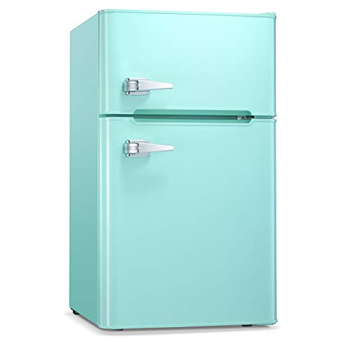 Antarctic Star Compact Mini Refrigerator Separate Freezer, Small Fridge Double 2-Door Adjustable Removable Stainless Steel Shelves Garage Camper Basement/Dorm/Office 3.2 cu.ft.Green