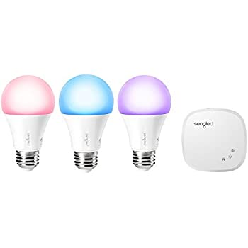 Sengled Element Color Plus Smart Bulb Starter Kit, Control up to 64 Bulbs, 16 Million Color Output, Tunable Warm White to Daylight (2000K - 6500K), Works with Amazon Alexa and Google Assistant(3 Pack)