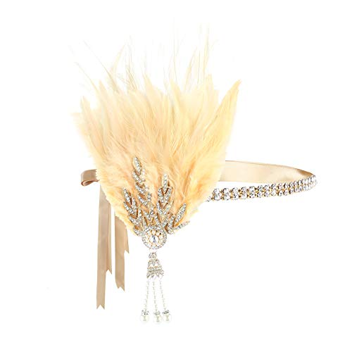 Gold Element Halloween Costume (Metme Roaring 20s Flapper Headband Crystal Great Gatsby Headpiece Feather Vintage 1920s Costume Hair)