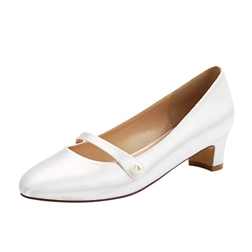 ERIJUNOR E2226 Wedding Flats Comfort Chunky Heel Women Dyeable Satin Dress Shoes for Bride White Size 11 ()