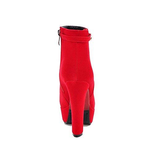 AllhqFashion Mujeres Cremallera Puntera Cerrada Tacón Alto Caña Baja Botas con Ornamento Metal Rojo
