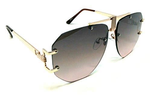 Syndicate Rimless Flat Top Oversized XL Aviator Luxury Sunglasses (Rose Gold Metallic Frame, Brown ()