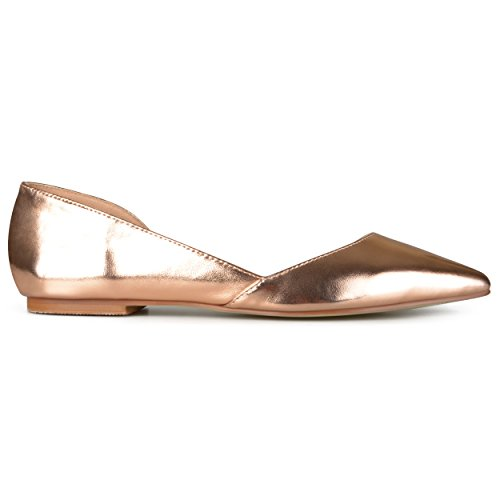 Brinley Co Womens D'Orsay Cut-out Pointed Toe Fashion Flats, Rose Gold- 9 B(M) US