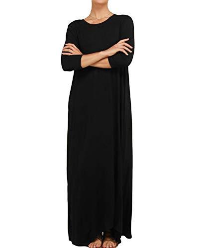 YOINS Women's Loose Maxi Dress 3/4 Long Sleeve Dress Round Neck Baggy Long Dress with Pockets