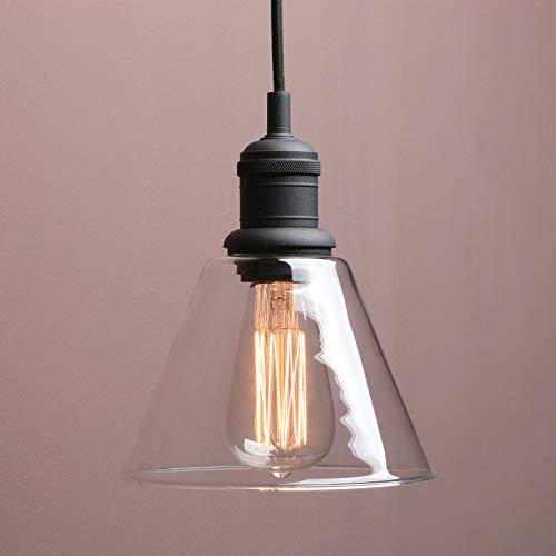 1-Light Vintage Edison Hanging Pendant Light, Yosoan Mini Funnel Flared Glass Clear Glass Shade for Kitchen Bathroom Porch Living Room Dinning Room Office Restaurants Hotels Bar Island(Black)