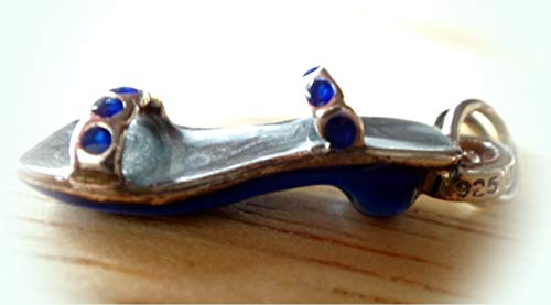 Sterling Silver 20x7mm Dark & Lt Blue Enamel Sandal Shoe with Crystals Charm Vintage Crafting Pendant Jewelry Making Supplies - DIY for Necklace Bracelet Accessories by CharmingSS ()