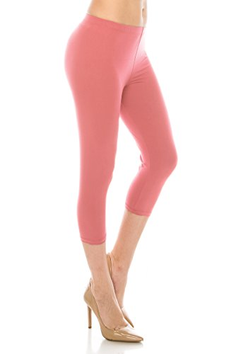 ALWAYS Women Basic Capri Leggings - Solid Buttery Premium Soft Stretch Yoga Workout Fitness Pants Coral Plus