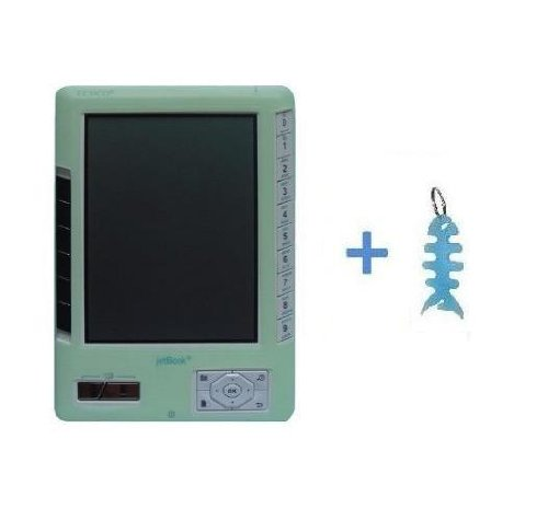 Green Silicone Skin Case Cover + Light Blue Fishbone Style Keychain for Ectaco Jetbook Readers