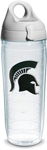 Tervis 1073596 Michigan State Spartan Emblem Individual Water Bottle with Gray lid, 24 oz, Clear - Michigan State Spartans Kitchen