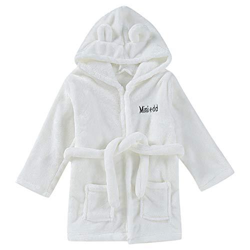 NUWFOR Toddler Kids Baby Solid Bathrobe Cotton Plush Hooded Bath Robe Towel Pajamas(White,12-18 Months) -