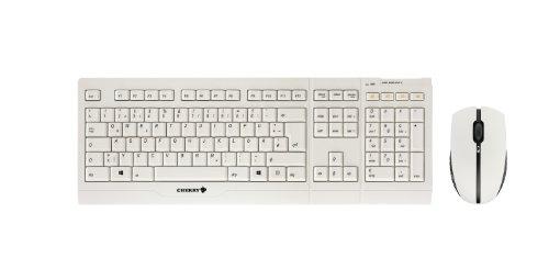 Cherry JD-0400DE-0 drahtlose Tastatur (Deutsch, 109-Tasten, USB) mit optische Maus (1000dpi, 3-Tasten) hellgrau