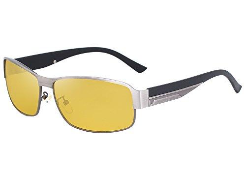 KINGSEVEN 2017 HD Brand Design Aluminum magnesium Polarized Night vision Sunglasses Men Square Sun Glasses Driving Sunglasses For Women (GUN Gray, - See Can Lenses You Polarized Through