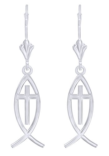 Messianic Fish with Cross Charm Earrings in 14k Solid White Gold by AFFY