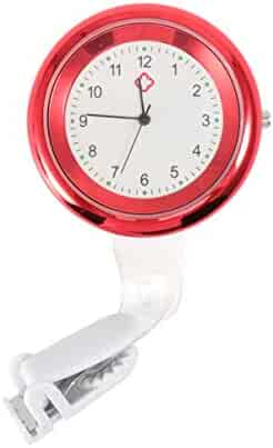 Hemobllo Nurse Watch Clip on Brooch Watch Hanging Pocket Watch Lapel Watch Doctor Watch for Birthday Valentines Day Gift (Red)