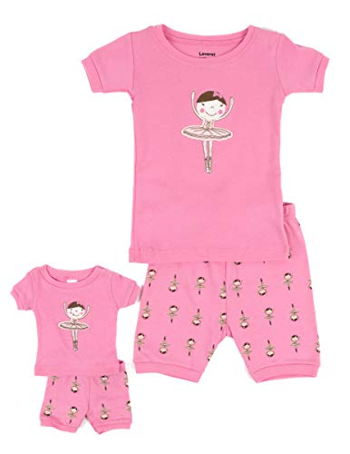 Leveret Shorts Matching Doll & Girl Ballerina 2 Piece Pajama Set 100% Cotton Size 4 ()