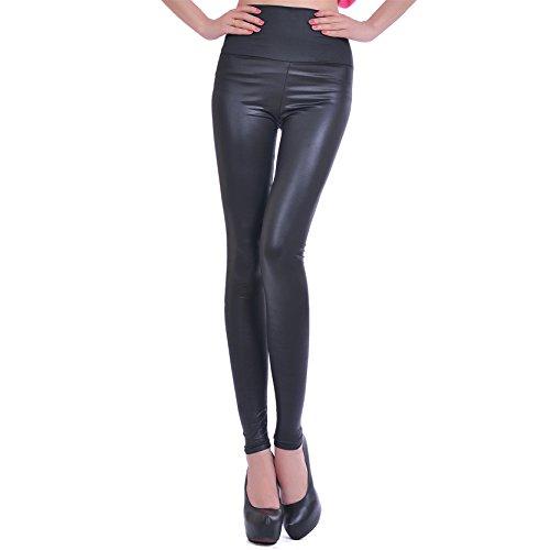 Jiayiqi Mujer Imitación Cuero Alto Cintura Leggings Cuatro Color Tamaño S-L Negro